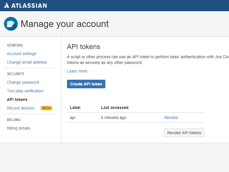 Atlassian API token