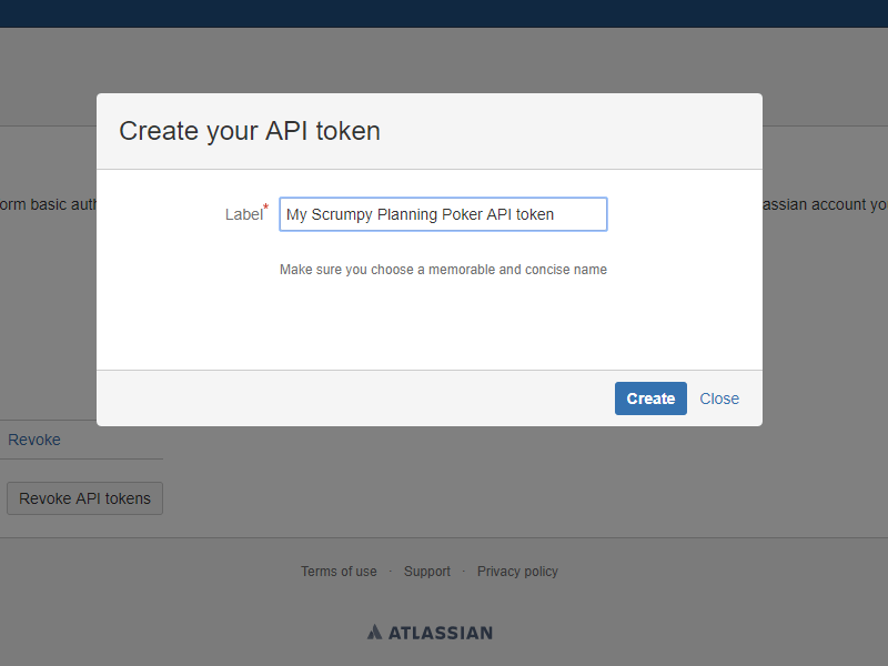 Create new API token