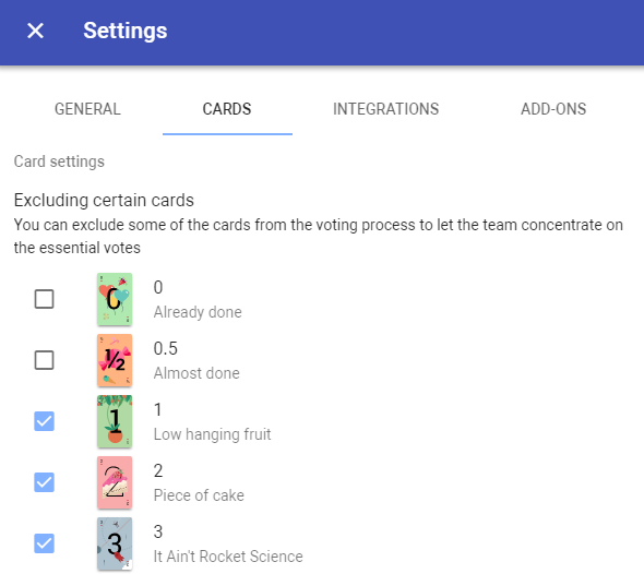 Exclude cards