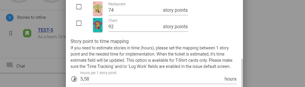 Story point to time mapping